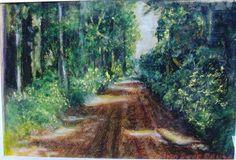 esta pintura se llama camino de El Dorado, Misiones, mi tierra colorada esta pintado con con tizas pastel.