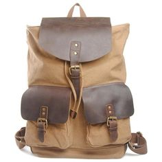 Canvas Backpack Leather Patchwork Rucksack