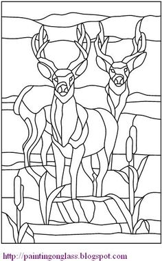 painting on glass: Free Stained Glass Pattern:TwoDeer
