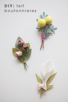 Sewing Fabric Flowers DIY - How to make felt wedding boutonnieres! - In this step by step tutorial we share exactly how to make a lovely felt wedding bouquet including all the flowers! Check it out! Felt Flowers, Diy Flowers, Fabric Flowers, Paper Flowers, Ribbon Flower, Felt Flower Bouquet, Blush Flowers, Flower Diy, Felt Diy