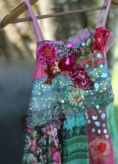Boho lutin glissement robe ou tunique--fantaisie robe bohème, brodé, vintage retravaillé