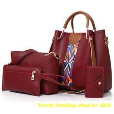4 Pcs/set Women Handbag 2018 Messenger Bags For Ladies Fashion Shoulder Bag Lady PU Leather Casual Female Shopper Tote Sac Femme Coin Purse Wallet, Tote Purse, Crossbody Bags, Trending Handbags, Handbag Patterns, Shopper Bag, Casual Bags, Medium Bags, Shoulder Handbags