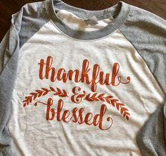 Ladies Thankful & Blessed Raglan Tee