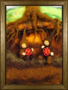 Needle felted root children - love the roots on that tree!
