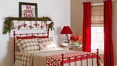 10 Christmas Bedroom Decorating Ideas, Inspirations Keep the Christmas decorations simple and elegant in the bedroom [Design: Lowe's Home Improvement] All Things Christmas, Christmas Home, Christmas Holidays, Christmas Decorations, Christmas Ideas, Simple Christmas, Christmas Design, Christmas Classics, Homemade Decorations