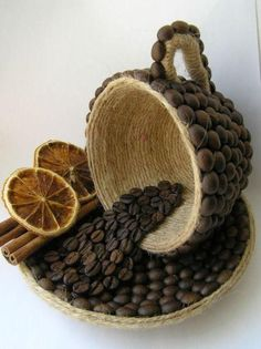 Discover thousands of images about DIY Unique Table Decor with Coffee Beans Jute Crafts, Diy And Crafts, Arts And Crafts, Paper Crafts, Bottle Art, Bottle Crafts, Coffee Bean Art, Coffee Bean Decor, Coffee Room