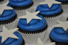 Cupcakes - Just add some red. They remind me if captain america.