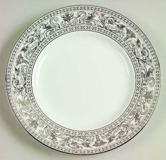 Wedgwood platinum florentine is a discontinued pattern that is really hard to find. I have been collecting the salad plates and mix them with my other china to add personality. This pattern comes in lots of colors. Check them out on ebay or replacements.com. If you ever see any dinner plates, please let me know.