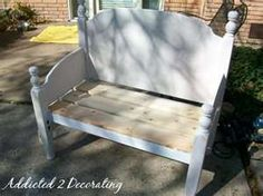 Old bed made into bench.