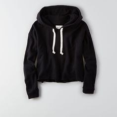AEO Crop Hoodie ($35) ❤ liked on Polyvore featuring tops, hoodies, true black, cropped hoodies, sweatshirt hoodies, hoodie top, black hoodies and hooded sweatshirt