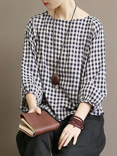 ZHI Plaid Long Bishop Sleeve Oversize Casual Blouses look not only special, but also they always show ladies' glamour perfectly and bring surprise. Come to NewChic to choose the best one for yourself! Vintage Outfits, Stylish Dresses For Girls, Bishop Sleeve, Over 50 Womens Fashion, Muslim Fashion, Clothing Patterns, Casual Looks, Ideias Fashion, Fashion Outfits