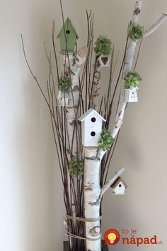 Great Photographs bird house decorative Concepts You'll find infinite kinds of birdhouses on the market lately, although pretty not every person is looked into in add Birch Tree Decor, Birch Branches, Tree Branch Decor, Wood Crafts, Diy And Crafts, Decoration Shabby, Deco Champetre, Deco Floral, Christmas Decorations To Make
