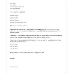 printable sample 30 day notice to vacate letter form