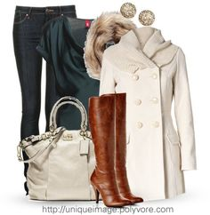 Winter Chic por uniqueimage usando dark blue skinny jeans ❤ liked on PolyvoreEdc By Esprit woven top, $63 / Vero Moda , $120 / Marc by Marc Jacobs dark blue skinny jeans, $120 / Apt. 9 tall boots / Coach leather satchel handbag / Pave disc earrings / Juicy Couture circle scarve,DESIGNER COACH BAGS WHOLESALE,cheap coach bags upcoming $44.99