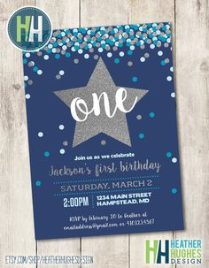 boy first birthday invite, 1st birthday printable invitation, navy turquoise and silver glitter confetti star invite customize personalize