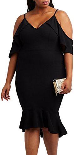 609a3517b6f9d DearQueen New Arrival Summer Womens Sexy Black Burgundy Plus Size Ruffle  Cold Shoulder Flounced Midi Dress