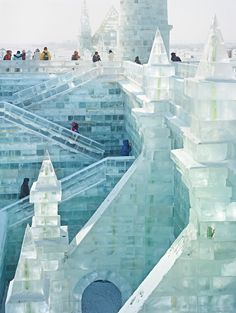 Sightseers at the Harbin International Ice and Snow Sculpture Festival. Photograph by Massimo Vitali for The New York Times.
