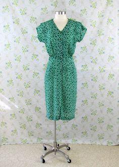 Vintage Dress / Green & White 40s Style by VioletJuneVintage, $25.00