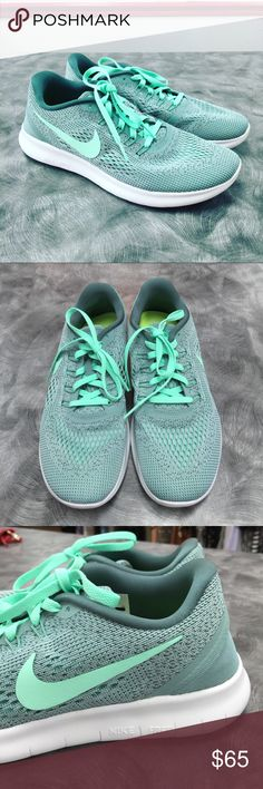 Brand New Nike Free RN Sneakers A beautiful light aqua, seafoam green color! No box. Never worn outside. Clean bottoms. New! No trades. Nike Shoes Sneakers