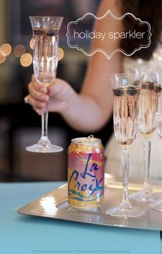 This low calorie champagne drink is perfect for New Year's party! Just add Pure LaCroix to your favorite champagne.