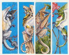 Bird Dragon bookmarks Set 2 by Hbruton.deviantart.com on @DeviantArt