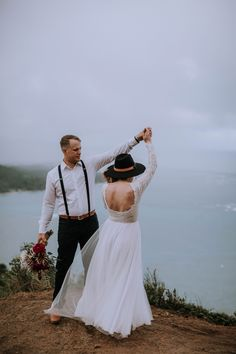 """These two """"eloped"""" on a mountaintop on Oahu, Hawaii. Who could ask for a better adventurous elopement session? Now who wants to elope in Hawaii! Whimsical Wedding Inspiration, Elopement Inspiration, Wedding Photography Inspiration, Hawaii Elopement, Hawaii Wedding, First Dance Photos, Wedding Day Checklist, Hawaii Destinations, Maui Wedding Photographer"""