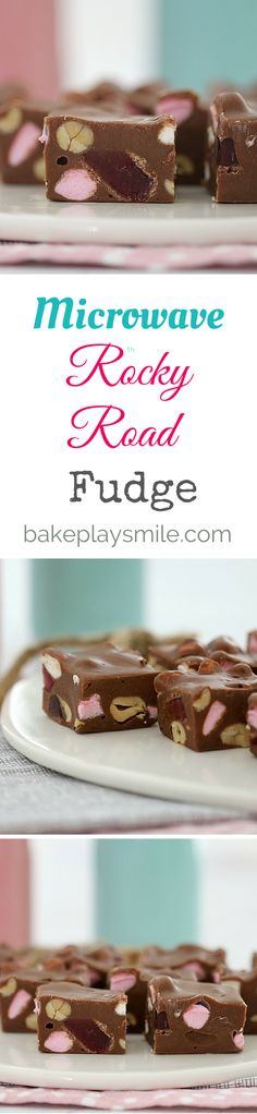 The easiest Microwave Rocky Road Fudge! Make it in less than 5 minutes by melting condensed milk, chocolate and butter in the microwave, and then stirring through mini marshmallows, peanuts and Turkish Delight chunks… how easy is that!