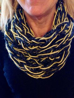 Knitting Patterns Arm (Steelers or Penguins) Sparkle Grey and Yellow Arm Knit Scarf by MorgsCreativeOutlet Arm Knitting, Penguins, Knitting Patterns, Arms, Sparkle, Knit Scarves, Free Time, Trending Outfits, Yellow