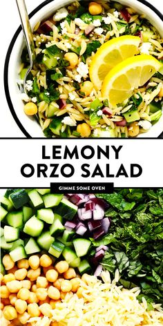 This Lemony Orzo Pasta Salad is made with hearty orzo pasta, fresh spinach or ar. This Lemony Orzo Healthy Salads, Healthy Eating, Healthy Recipes, Cooking Recipes, Summer Vegetarian Recipes, Vegetarian Barbecue, Going Vegetarian, Vegetarian Dinners, Vegetarian Cooking