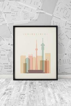 Johannesburg skyline Johannesburg Print Printable by ArtFilesVicky