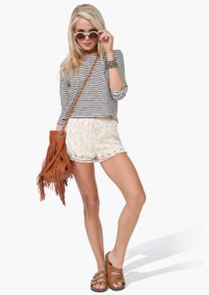 Crochet Shorts, striped top and leather