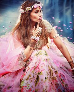 Bipasha Basu in an Anushree Reddy Lehenga with floral jewellery at her Sangeet and Mehendi - bollywood - wedding - bride - flower crown - bohemian - floral Mehndi Outfit, Mehndi Dress For Bride, Sangeet Outfit, Bridal Lehenga, Lehenga Choli, Pink Lehenga, Floral Lehenga, Bridal Looks, Bridal Style