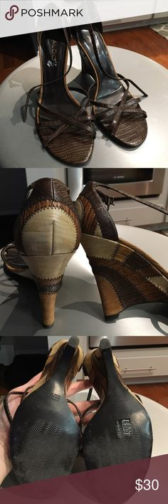 Aldo Wedge Sandal Heels 😍 Size 40 ALDO wedge heels. Worn few times. So cute. Have a snack/leather/ stitch look. Different shades of brown and tan Aldo Shoes Wedges