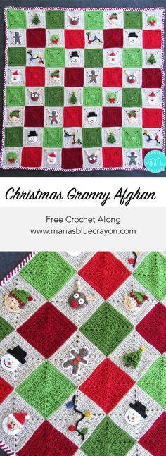 Christmas Granny Square Afghan | Free Crochet Along | Crochet Christmas Blanket | Maria's Blue Crayon