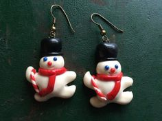 Adorable Vintage Snowman Earrings by TillyFritz on Etsy
