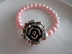 Silver toned rose sculpted pendant elastic by LeeliaDesigns