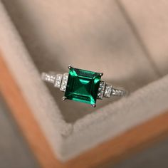 Lab created emerald ring sterling silver square cut by LuoJewelry