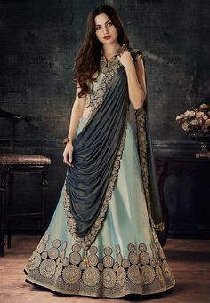 Find women's lehenga choli for best prices and shop online. Celestial grey embroidered, lace, resham and zari work lehenga choli. Lehenga Choli Online, Bridal Lehenga Choli, Lehenga Wedding, Indian Dresses, Indian Outfits, Western Outfits, Raw Silk Lehenga, Lehenga White, White Kurta