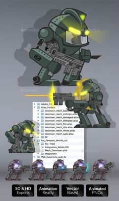 Mech Destroyer Character Set — Photoshop PSD #anime #army • Download here → https://graphicriver.net/item/mech-destroyer-character-set/9212191?ref=pxcr