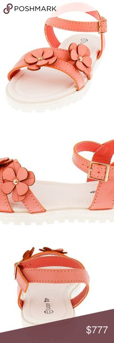 COMING SOON CORAL FLOWER KIDS SANDAL KIDS SIZE 4 CORAL FLOWER  KIDS SANDAL         DESCRIPTION  Get your fashion fix in these adorable floral flat sandals! ◦Features a floral embellished double toe strap  ◦Large buckle ankle strap  ◦Rippled lug sole  Man made materials.  SMOKE & PET FREE BOUTIQUE Shoes Sandals & Flip Flops