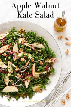 An easy to make and colourful nutrient packed Apple Walnut Kale Salad. Loaded with chopped kale, sliced apples, slivers of radicchio, red onions, pumpkin seeds and tossed with a dressing of apple cider vinaigrette. Kale Apple Salad, Apple Walnut Salad, Apple Salad Recipes, Salad Dressing Recipes, Easy Salads, Healthy Salad Recipes, Spinach Salad, Paleo Kale Salad, Kale Kale
