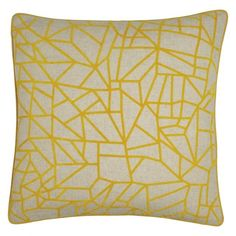 With its clean, linear design and neutral base, the Erin yellow flocked cushion offers colour, pattern and texture that is very easy to live with.[br]Fabulous on a dark sofa, the cushion complements similarly sunny soft furnishings in our collection, such as the Lotta throw and Jilly cushion. [br]Exclusive to Habitat, the cushion comes with a soft pad.