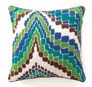 Trina Turk Accent Pillows - Bargello Lator Gator in Blue Needlepoint PillowONE AVAILABLE
