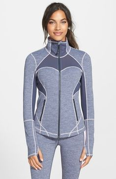 Free shipping and returns on Zella 'Fiona' Space Dye Pop Jacket at Nordstrom.com. Shapely seams sculpt an ultra-flattering figure in this sleek, space-dyed jacket cut from a smooth, moisture-wicking stretch knit. A high collar and thumbhole cuffs offer warmth, while mesh panels lining the upper back and underneath the arms provide cooling ventilation.