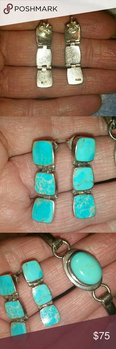 Vintage Turquoise Sterling Silver Earrings These Beauties go great with the bracelet I will also have listed in my closet. Authentic turquoise sterling silver Native American handcrafted earrings. Listing is for earrings only Vintage Jewelry Earrings