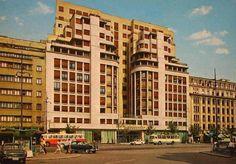 Hotel Ambasador, anii 60 Construit între anii 1937 şi 1939, după planurile arhitectului Arghir Culina (care era şi coproprietar împreună cu Constantin S. Mihăescu - proprietarul garajului Ciclop), hotelul a fost închis între 1949 și 1954. Bucharest Romania, Timeline Photos, Old Pictures, Time Travel, Multi Story Building, Art Deco, Country, Traveling, Memories