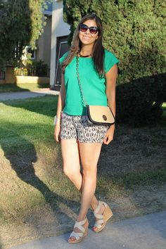 Chillin' in green @Forever21 top, TJMaxx tribalish shorts and @ToryBurch accessories (purse and cuff)