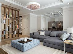 Зонирование пространства можно осуществить с помощью воздушной деревянной перегородки