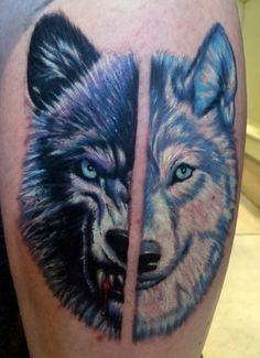 My brand new wolf tattoo!  One wolf showing both it's evil side and good side, constantly fighting itself.  Done by Tony Clemence at Immaculate Concept Tattoo