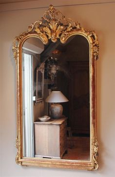 Antique French Mirror - Happy home - taktak decor Antique Gold Mirror, Jungle Bedroom, French Mirror, Castle House, Bedroom Inspo, French Antiques, Oversized Mirror, Inspiration, Furniture